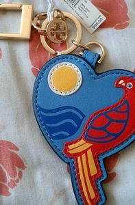 Tory Burch-Leather Parrot Heart Key FOB- BRAND NEW